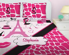 Paris Bedding, Paris Theme bedding Comforter, Kids Bedding Sets Kids Bedding, Snakeskin, Pink Bedding, Fashion, Queen Comforter, Twin #19