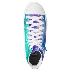 #TRICOLOR MARBLE STARRY NEBULA SKY AQUA BLUE PURPLE High-Top SNEAKERS - #womens #shoes #womensshoes #custom #cool