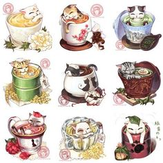 Kitties in teacups Cute Food Drawings, Cute Kawaii Drawings, Cute Animal Drawings, Kawaii Art, Pet Anime, Anime Art, Cute Food Art, Art Et Illustration, Food Illustrations