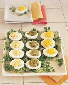 We've updated deviled eggs, a staple of childhood picnics and family reunions. These modern versions are tasty alternatives to the mayonnaise-and-paprika standby.