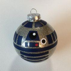 "Star Wars Inspired R2D2 Christmas Glitter Ornament 3.25"" Glass Ball"