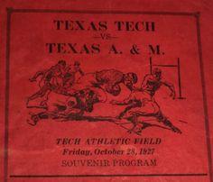 1927 texas tech vs texas a&m #Football souvenir program team rosters photos adver from $9.99