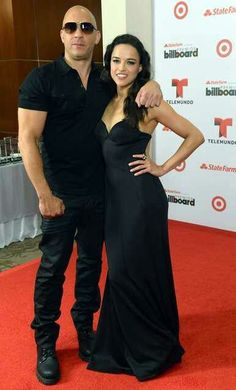 Vin Diesel and Michelle Rodriguez pose at Billboard Latin Music Awards 2013 at Bank United Center on April 2013 in Miami, Florids Michelle Rodriguez, Vin Diesel, Salma Hayek, Dom And Letty, Dominic Toretto, Furious Movie, Pose, Hollywood, Latin Music