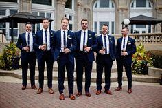 Wedding Groom and Groomsmen Attire: Our Guide - Bride Rebel Wedding Tux, Blue Wedding Shoes, Wedding Groom Attire, Blue Suit Wedding, Fall Wedding, Wedding Ideas, Dress Wedding, Bride Groom, Groomsmen Attire Navy