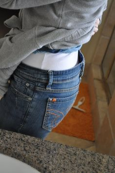 """A quick how-to that shows how to use 1/2"""" elastic to prevent jeans from gaping at the waist - great info from I am Momma Hear Me Roar! #sewing #tutorial #elastic"""