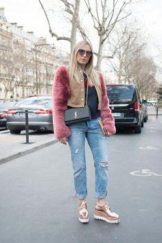 Winter Fashion - Jeans Style for Weekend Wear - Boyfriend Jeans, Faux Fur Jacket, Platform Heel Shoes, Designer Purse