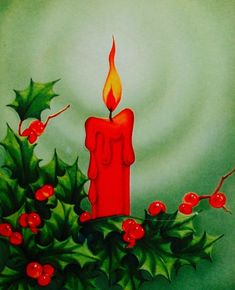 Classic Christmas Candle. Vintage Christmas Card. Retro Christmas Card. Red Candle with Holly.