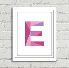 Choose your own geometric monogram! Simply message me whichever letter youd like after purchasing (or in your order information) and Ill email you your customized order. :)  This modern design makes a great gift. Simply download, print, trim & frame - its easy!  This design is available in 8 x 10 and includes two versions for your convenience. ** THIS LISTING IS FOR A DIGITAL DOWNLOAD ONLY - NO PHYSICAL PRODUCTS WILL BE SHIPPED TO YOU **   WHAT'S INCLUDED: _______________________________...