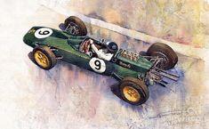 Lotus 25 F1 Jim Clark Monaco GP 1963 painting by Yuriy Shevchuk