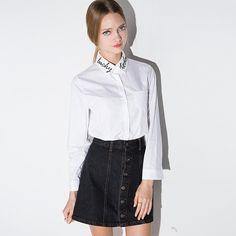 Женская одежда Мода 2016 корейский стиль с длинным рукавом Дамы Офис рубашки Белый Лаки Сегодня Вышивка Массимо Женский Рубашка  http://ali.pub/imvtr
