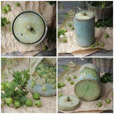 """Купить """"Крыжовник"""" короб - голубой, зеленый, салатовый, крыжовник, ягоды, лето, деревенский стиль, кантри"""