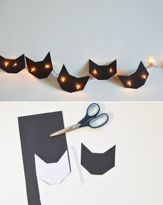 Crafty Black Cat lights made from black paper and a regular string of Christmas lights. Orange lights look cool, too.