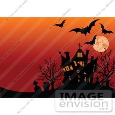 #56359 Royalty-Free (RF) Clip Art Illustration Of Bats, Tombstones And A Haunted House Silhouetted Under An Orange Full Moon Sky by pushkin