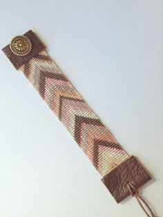 Chevron loom beaded cuff in chocolate peach by SusanReneeDesigns