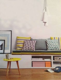 could use besta from ikea as a seat for against the wall. put cushions on top to make extra seating/storage space Ikea Hack Besta, Ikea Hacks, Home Living Room, Living Room Furniture, Furniture Mattress, Living Area, Casa Retro, Banquette Seating, Office Home