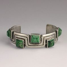 Hector Aguilar Sterling Silver and Malachite Mendering Lines Cuff