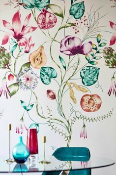 Harlequin Quintessence is a large scale digitally printed panel of exotic flowers and leaves, featuring figs, pomegranates, pears, seed heads and oversized blooms.