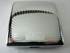 Sun ray cigarette case with fifth avenue style initials