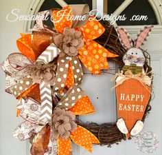 Happy Easter Wreath, Spring Wreath, Easter Bunny Wreath, Grapevine Wreath, Easter Decorations, Easter Wall Decor, Spring Door Wreath by SeasonalHomeDesigns on Etsy
