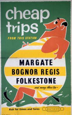 Margate , Bognor Regis, Folkestone (England)  vintage and funny beach rail poster. www.varaldocosmetica.it/en