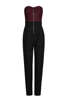Black & Burgundy Jumpsuit