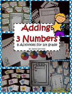 8 activities for adding 3 numbers. They work great for centers or independent work. $