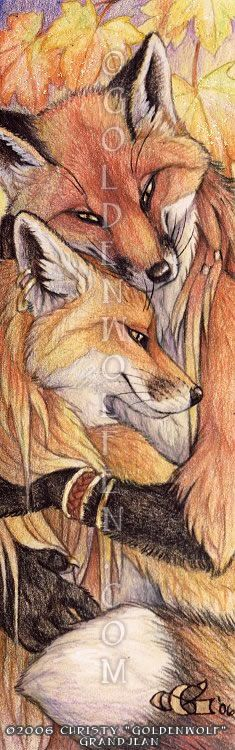 """A fox pair gets all cuddly. Awwww! Part of my series of 'minis'. Watercolor and Colored Pencil on 7"""" X 2"""" Bristol with iridescent paint accents, and glitter!"""