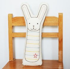 embroidered bunny pillow in ivory by katedurkin on Etsy, $35.00