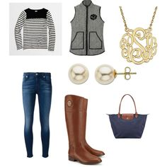 Fall by lillypulitzera on Polyvore featuring polyvore, fashion, style, J.Crew, 7 For All Mankind, Tory Burch, Longchamp and Lord & Taylor