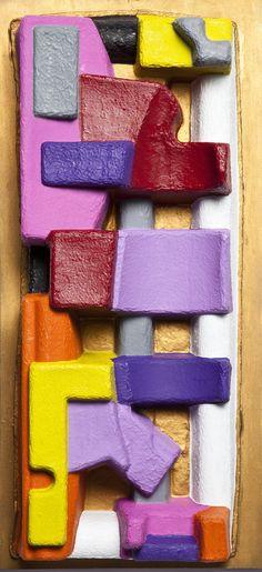 Andrea Zucchi, Imballaggio 041, 2013, 75x35x13,5 cm, olio e acrilico su cartone sagomato su legno.