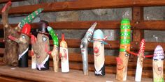 Holzzwerge Basteln mit Holz  Äste anmalen   #Holzzwerge #bastelnmitholz #ästeanmalen