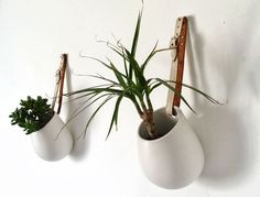 use Ikea Asker containers and old leather belts to make hanging plant pots. Possibly for gallery wall. From Poppytalk: 20 Best IKEA Hacks of 2013 Vase Design, Deco Design, Ikea Design, Plant Design, Design Design, Macrame Hanging Planter, Hanging Planters, Wall Planters, Diy Hanging