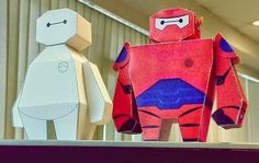 Big Hero 6 - Baymax Paper Toys With And Without Armor - by Jaizue - == -  By Thai designer Tonchat Jaizue, here are two nice paper toys of Baymax, the robot from Big Hero 6 animation: with and without armor.