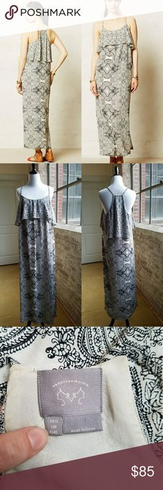 Vanessa Virginia Tiered Maxi Dress, 8 Adorable Anthro ruffled maxi dress. Bottom of ruffle has silver beading.  Lined to middle thigh. Slit on side of dress.  Gently pre-loved. Great for summer! Anthropologie Dresses Maxi