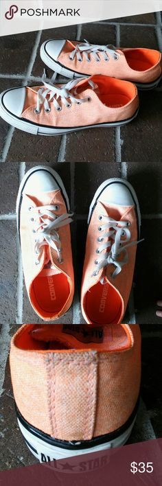 Neon coral converse sneakers Super cute, unique color, in great condition. Gently used, minimal wear on soles and just one spot on back of canvas with any signs of wear (see photo). Always get compliments on these!! Converse Shoes Sneakers