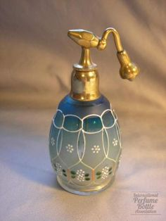 Blue cut glass atomizer by DeVilbiss, c.1905-1918