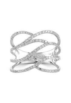 Effy Pave Classica 14K White Gold Diamond Fashion Ring, 0.43 TCW