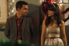"Jess (Zooey Deschanel) & Nick (Jake Johnson) from the ""Christmas"" episode of NEW GIRL on FOX."