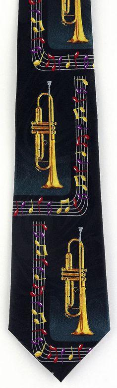 New Brass Trumpets Mens Necktie Trumpet Musical Instrument Notes Music Neck Tie #StevenHarris #NeckTie