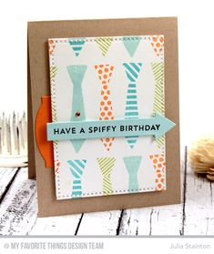 Spiffy Tie Masculine Birthday Card by Julia Stainton using MFT Stamps