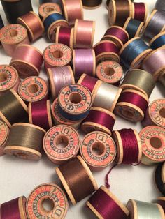 Lot of 65 wooden spools of vintage sewing thread. Corticelli Richardson etc