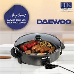 DAEWOO 40CM NON-STICK MULTI COOKER is suitable for frying, stewing, poaching, stir-frying and boiling. It`s non-stick surface is easy-to-use. It has temperature control and has a Glass Lid and Includes carry handles and non-slip feet. Maximize your profit! Stock up our DAEWOO 40CM NON-STICK MULTI COOKER in wholesale and visit our e-store www.dkwholesale.com to purchase a wide range of domestic appliances. Rice Cooker, Slow Cooker, Domestic Appliances, Fruit Juicer, Multicooker, Kitchen Gadgets, Stir Fry, Stew, Food Processor Recipes