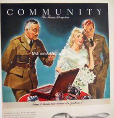 Vintage War Ad/ Community Flatware Magazine by mamiezvintage, $12.00