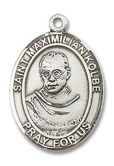 """ST. MAXIMILIAN KOLBE OVAL PATRON SAINT MEDALSterling SilverMedal Dimensions: 1"""""""" H x 3/4"""""""" W (Large - Appropriate for men; older boys or anybody that prefers to wear a larger medal.)This item is avail"""