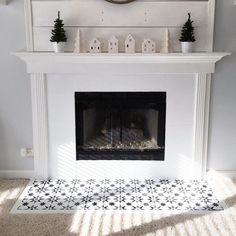 Painted Fireplace | Stenciled Floor Tiles | Jewel Tile Stencil | Cutting Edge Stencils  #stencils #diy #stenciled #fireplace #farmhouse #decorating