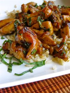 Spicy Thai Basil Chicken in about 40 minutes.  Perfect to serve with some brown rice and green beans!