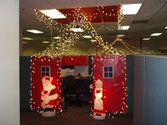 Office Christmas cube Decorating Ideas | Decorate my Office Cubicle