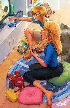 Link und Zelda spielen Breath of the Wild – sie ist dabei, es zu lernen. Link e Zelda interpretam Breath of the Wild – ela está prestes a aprender. The Legend Of Zelda, Legend Of Zelda Memes, Legend Of Zelda Breath, Breath Of The Wild, Final Fantasy, Image Zelda, Botw Zelda, Japon Illustration, Hyrule Warriors