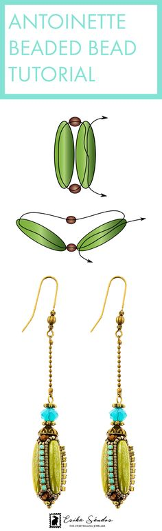 Beading tutorials for beaded beads. With Czech glass rocket beads, rhinestone chain, Preciosa cupchain, fire polished beads and Miyuki seed beads. Design by Erika Sandor The Storytelling Jeweller. Pattern available!