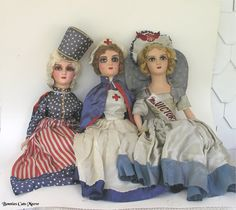 1930's Patriotic Dolls Boudoir, Star Spangled Banner, I Love America, Half Dolls, Primitive Folk Art, Old Glory, Red White Blue, Mannequins, Antique Dolls